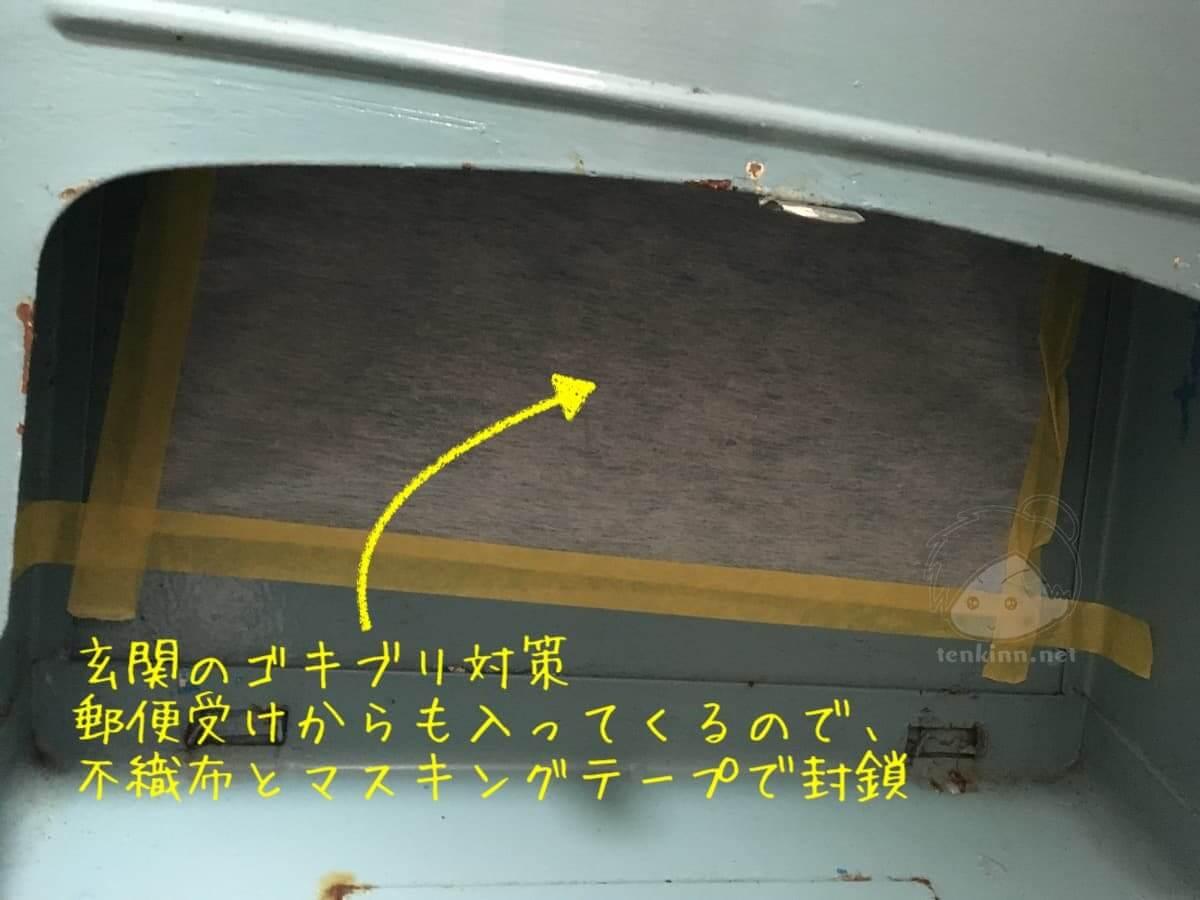 玄関の郵便受けからもゴキブリは侵入してくるのでマスキングテープと不織布で対策