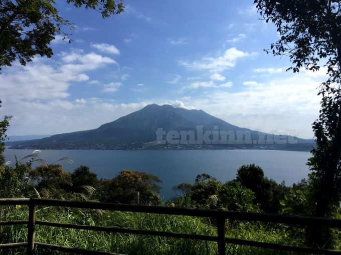 仙巌園登山頂上からの桜島