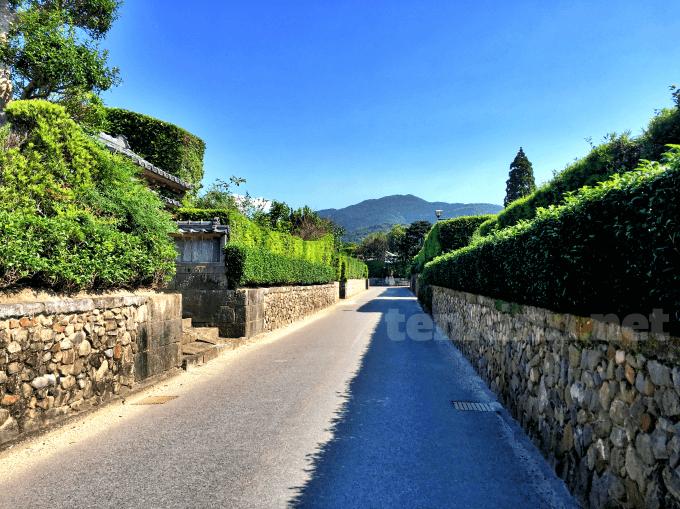 知覧武家屋敷の美しい石垣と生垣