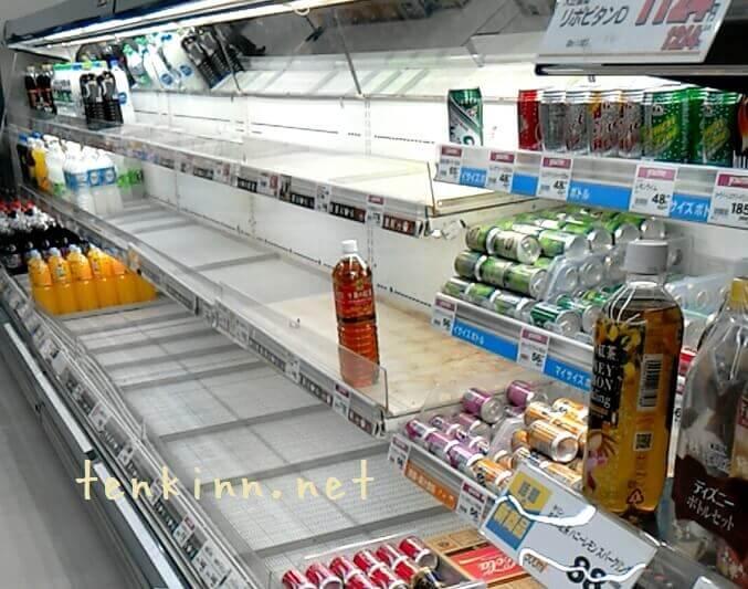 震災時、水はすぐに売り切れる