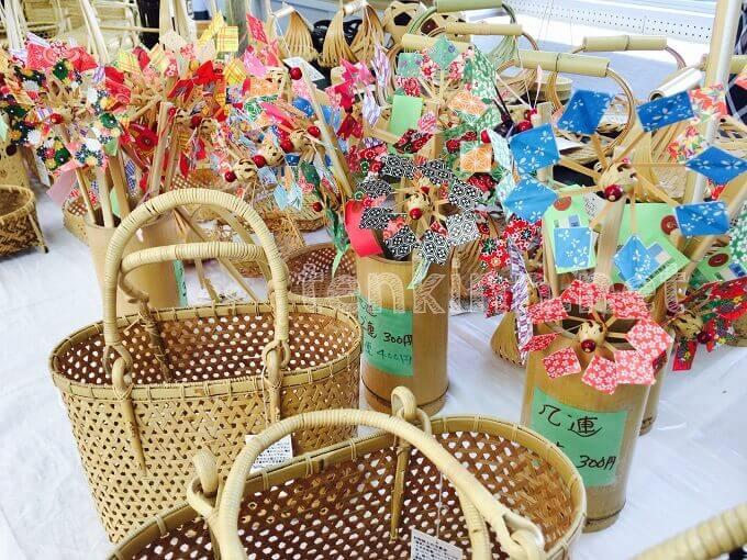 鹿児島竹のいち、カラフルで可愛い竹で作った風車