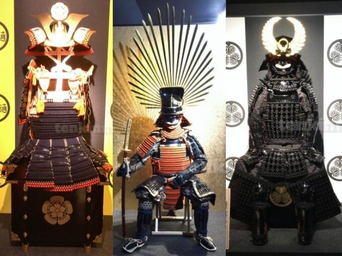 薩摩川内市の甲冑工房丸武でみれる、戦国武将の甲冑達、織田信長、豊臣秀吉、徳川家康
