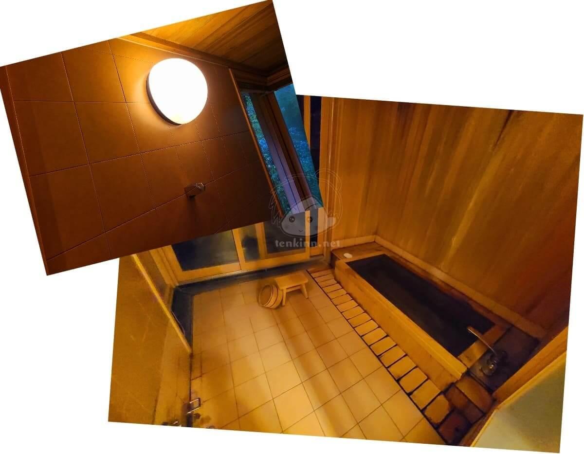 由布院玉の湯の部屋柚子夜の風呂は暗い