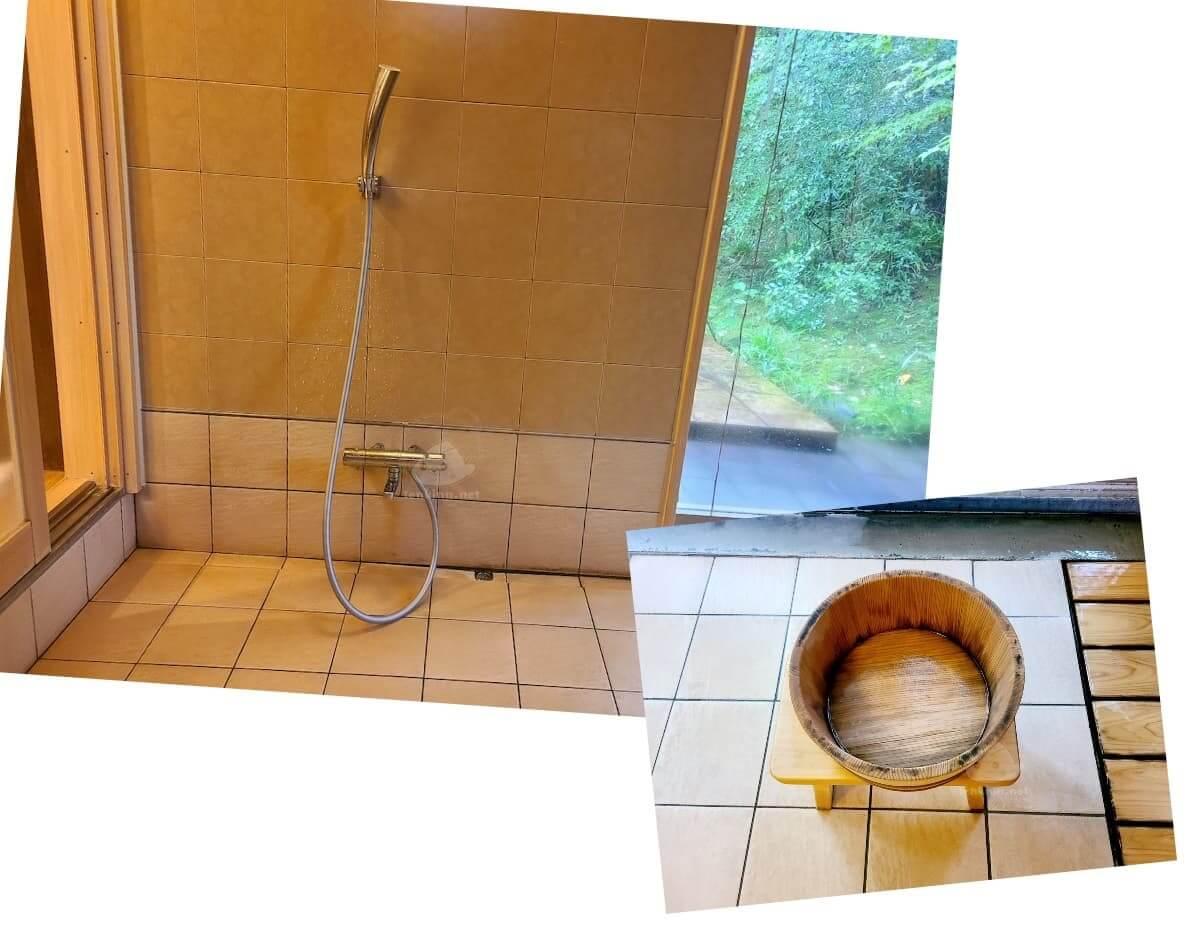 由布院玉の湯の部屋柚子風呂の桶とシャワー