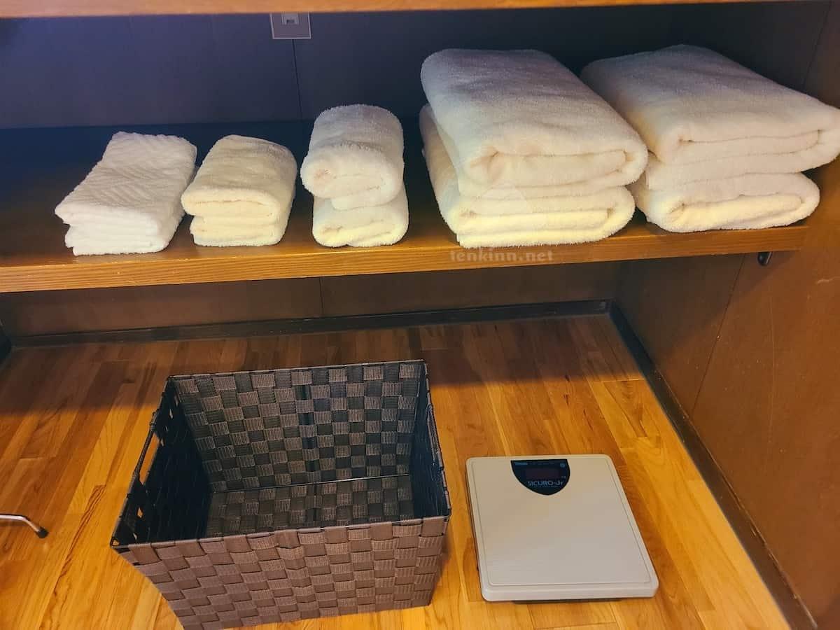 由布院玉の湯の部屋のタオル